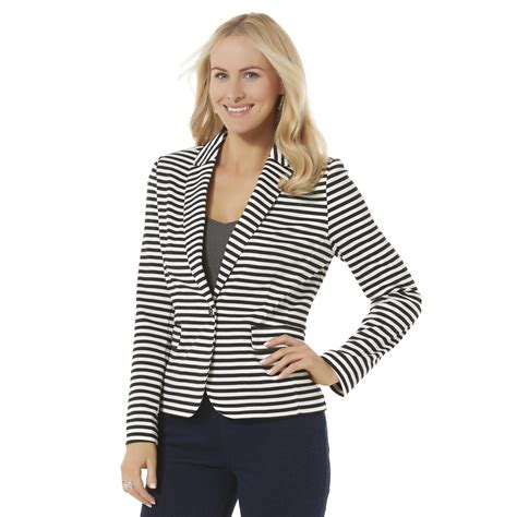 womens knit blazer covington s ponte knit blazer striped clothing