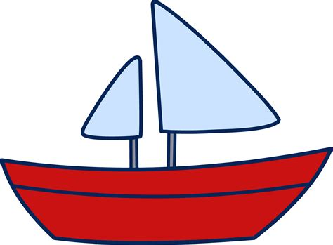 cartoon red boat cute simple sailboat design free clip art