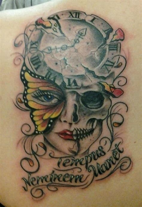 skeleton face tattoo clock butterfly lettering skeleton