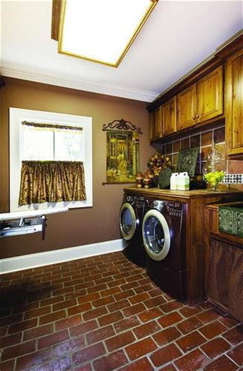 brown laundry brown brick laundry room