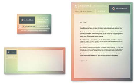 medical clinic business card letterhead template design