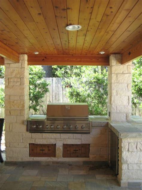 limestone columns  outdoor kitchen  houston texas