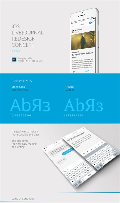 ios photoshop template ios livejournal redesign concept blazrobar psd