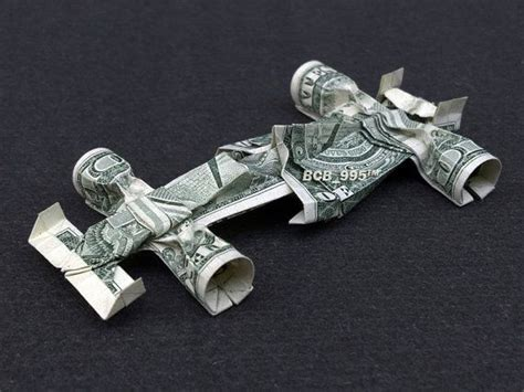 Origami Money Car - formula 1 race car money origami vehicle made of real