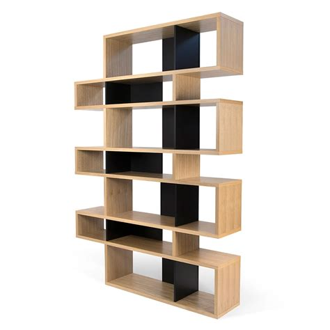 oak black modern bookcase eurway