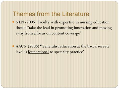 12 themes of literature ppt a need for change in nursing education powerpoint