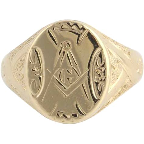 antique masonic ring master 14k gold engraved