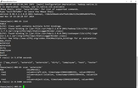 how to create table in hbase using hbase scan from the hbase shell henson
