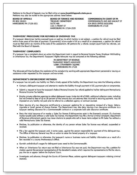 Irs Audit Appeal Letter Exle Pennsylvania Tax Notice Of Assessment Rev 364c Sle 1