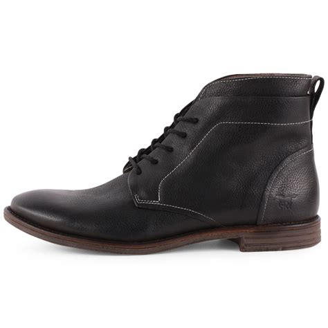 mustang 4874 502 mens leather black ankle boots new shoes