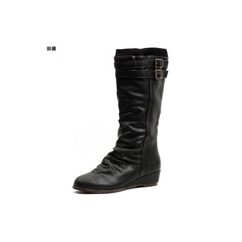 womens wrinkle wedge heel mid calf boot