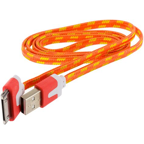 Usb Cable Iphone 4 noodle rope braided usb sync data cable cord 3ft for