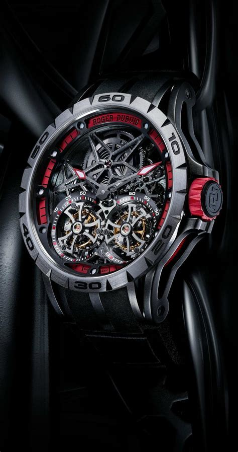 Roger Dubuis Excalibur Dual Tourbillon Black the stunning roger dubuis excalibur spider skeleton flying tourbillon
