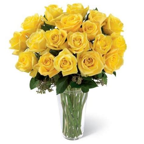 Yellow Roses In Vase by Yellow Vase