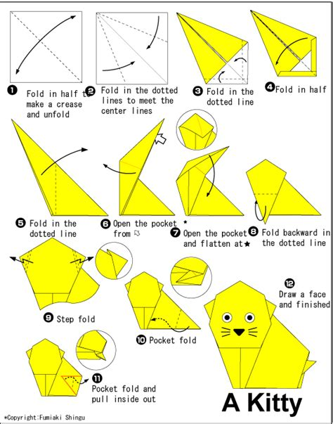 Origami Cat Diagram - animals origami paper origami guide