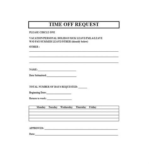 40 Effective Time Off Request Forms Templates ᐅ Template Lab Time Request Form Template
