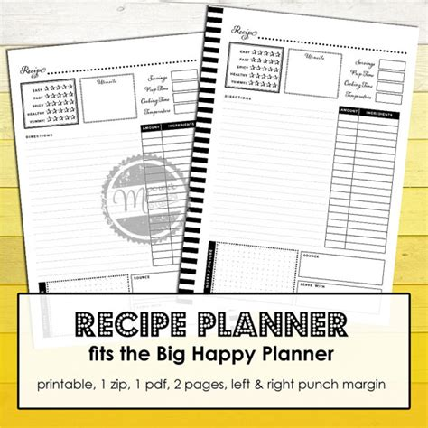printable recipe planner printable recipe planner for big happy planner