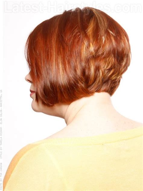 short hairstyles for women showing back stacked bob short hairstyle for older women side view