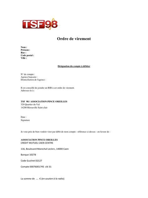 Exemple De Lettre Virement Bancaire Modele Lettre Ordre De Virement Document