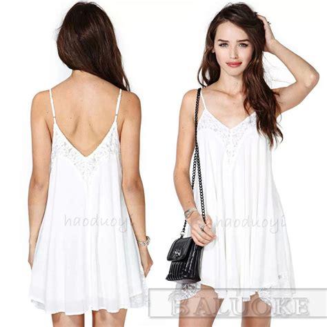 White Lace M L Xl Dress 31834 sale spaghetti straps white chiffon swing cami