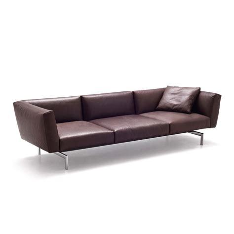 avio three seater brown leather sofa