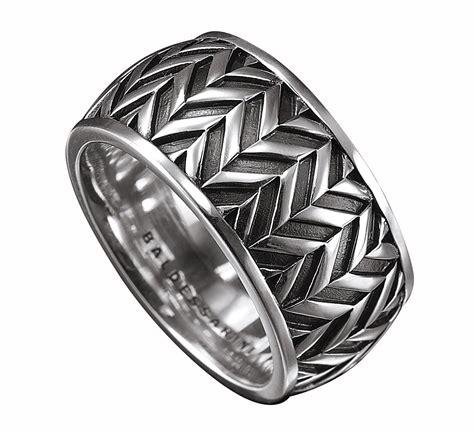 baldessarini sterling silver mens patterned designer ring