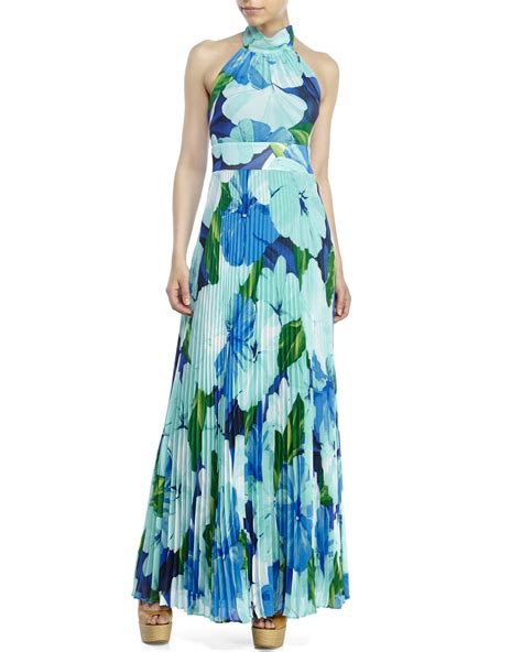 lyst eliza j pleated floral chiffon maxi dress in green