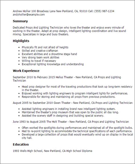 Lighting Designer Cover Letter by Professional Props And Lighting Technician Templates To Showcase Your Talent Myperfectresume