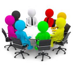 Best Office Desk multicolored people sitting at a round table isolated