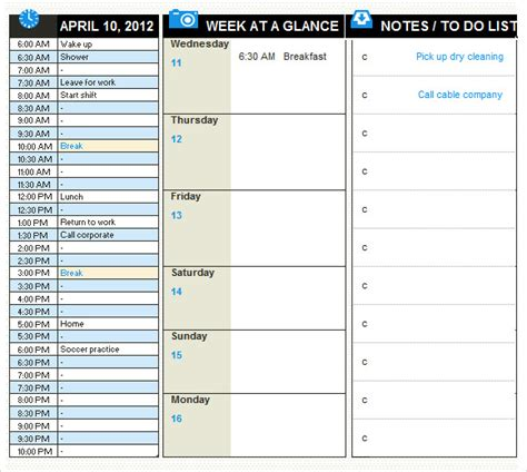daily planner template   samples examples format