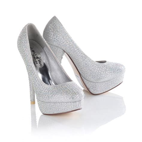 high heels s silver bejewelled diamante embellished platform
