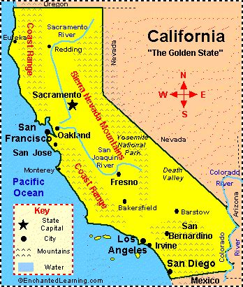 california facts map and state symbols