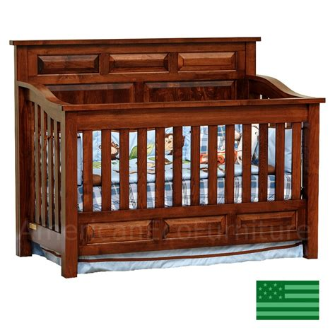 Amish Peyton 4 In 1 Convertible Baby Crib Solid Wood Amish Baby Crib