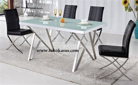 Meja Makan Tempered Glass meja makan kursi makan dining table meja makan minimalis