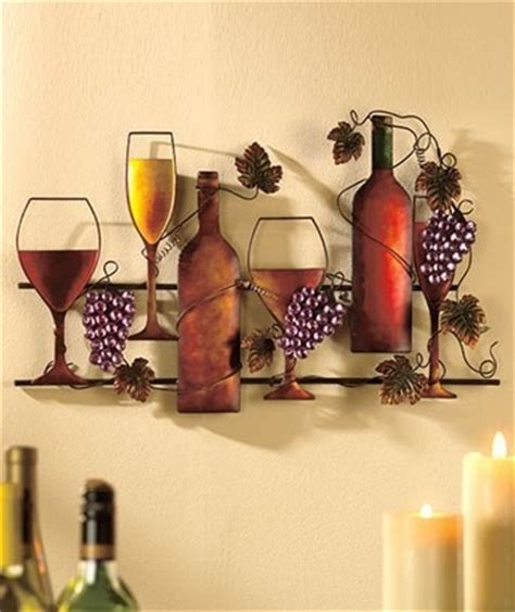 grapes and wine home decor metal wine art hanging grape grapevines glass bottle home