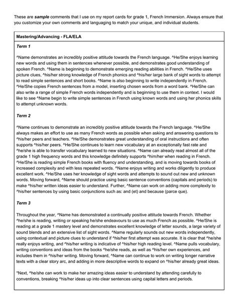 writing effective report card comments grades 1 6 13 best images about report card comment sles on