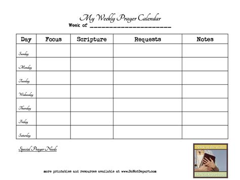 Prayer Schedule Template Weekly Prayer Calendar Do Not Depart