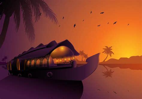houseboat vector alappuzha houseboats kerala silhouette free vector