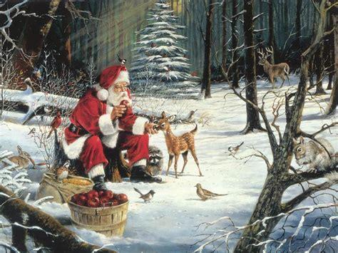 new year feeding the new year wallpapers santa feeding the animals newyearjpg ru