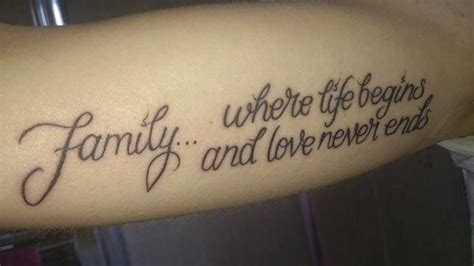 one love family tattoo quot family where begins and never ends quot i