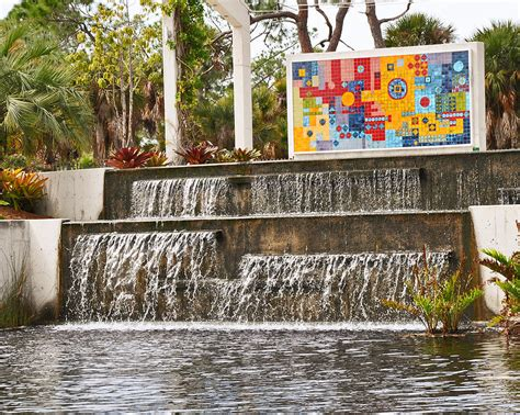 Garden By Christine Waterfall At Naples Botanical Garden Photograph By