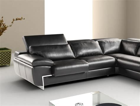 adjustable couch black full leather modern sectional sofa w adjustable headrest