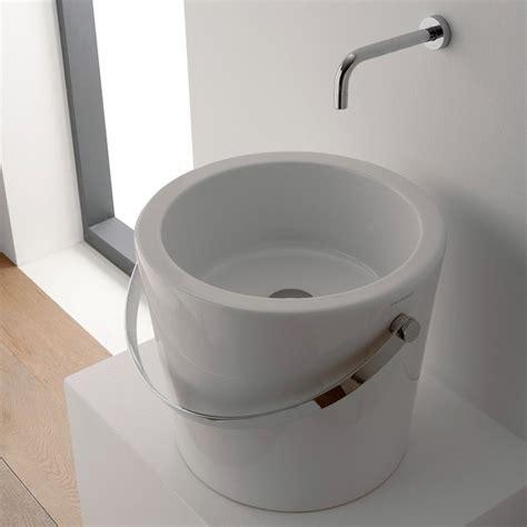 bucket for bathroom unique round white bucket ceramic vessel sink by scarabeo