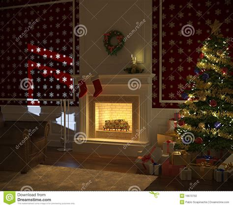 Fireplace With Tree by Cozy Fireplace With Tree Stock Photo Image 16670750