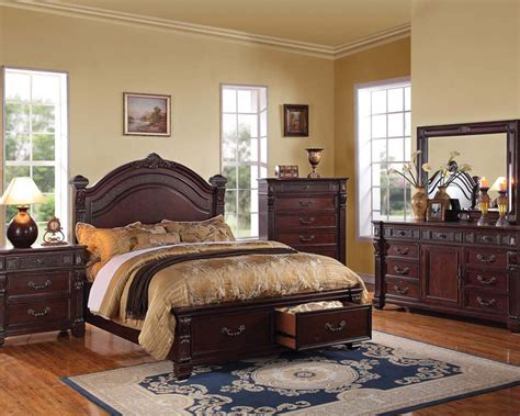 browning bedroom set rich brown bedroom set vevila by acme furniture ac20500set