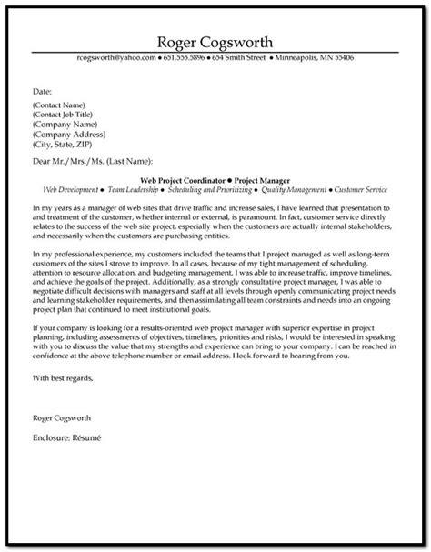 planner cover letter project planner cover letter exles cover letter