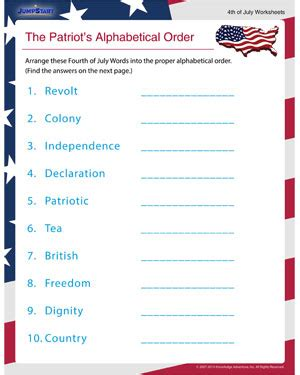 Patriot Day Worksheets by The Patriot S Alphabetical Order Printable