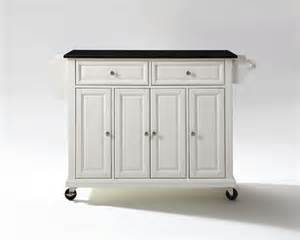Granite Top Kitchen Island Cart by Solid Black Granite Top Kitchen Cart Island In White Finish