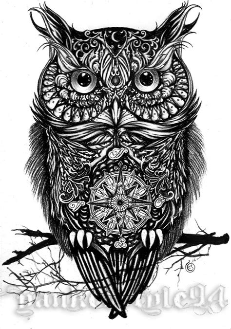 black and white owl tattoo designs owl by yankeestyle94 on deviantart