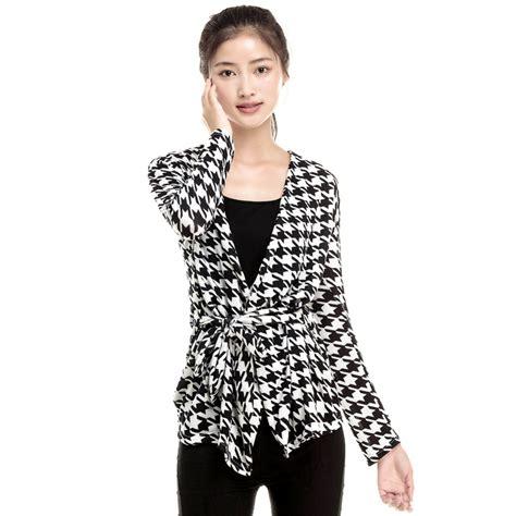 Jaket Sweater Lengan Panjang Soulmate Sleeve aliexpress beli busana musim semi 2015 perempuan lengan panjang houndstooth cetak stitch